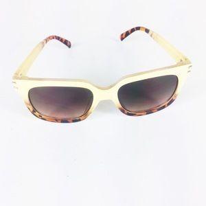 Animal Print Two Tone Retro Rectangle Sunglasses